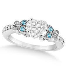 butterfly engagement rings blue topaz butterfly engagement ring 14k w gold 0 75ct