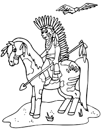 coloring pages horse coloring indian horseback