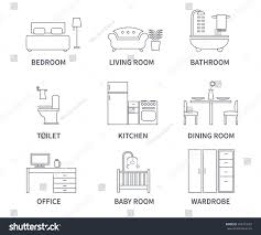 home interior design icons bedroom living stock vector 403373272