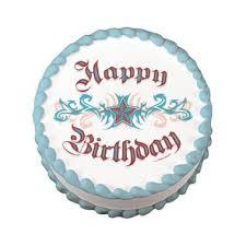 happy birthday tattoo edible image