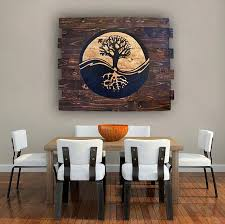 Spiritual Home Decor Yin Yang Tree Of Life On Wood Handmade Wood Wall Art Wooden