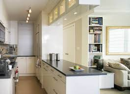 galley kitchen design ideas with long table and bookcase kitchen