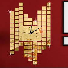 modern diy frameless roman numerals quartz wall clock mirror sales