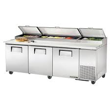 commercial pizza prep tables true tpp 93 93 pizza prep table w refrigerated base 115v