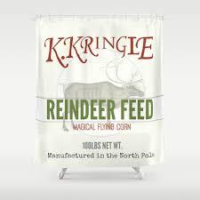 Feed Sack Curtains Reindeer Feed Sack Shower Curtain By Jenniferrizzo