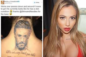 holly hagan shows off her fading kyle christie tattoo after