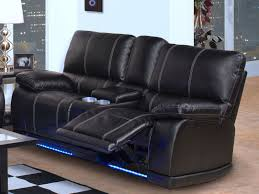 living room black bonded leather reclining sofa console storage