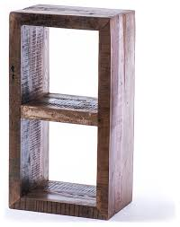 Cube Bookcase Wood Rainbow 2 Cube Bookcase Recycled Wood Rustic Bookcases By