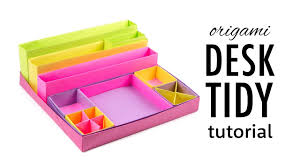 Origami Desk Organizer Origami Desk Organizer Boxes Tutorial Diy Paper Kawaii