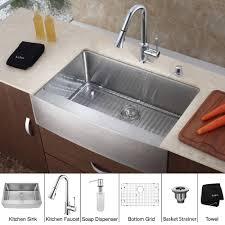 kitchen sink with faucet set kraus khf200 36 kpf1650 ksd30ch 36 inch farmhouse single bowl