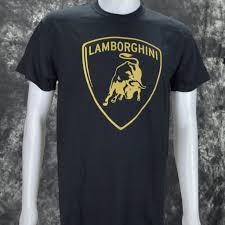 logo lamborghini lamborghini logo in gold on a black t shirt shirt warehouse