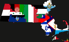 Flag Of Massachusetts A Map Showing The Flags Of Countries Overlaying Massachusetts