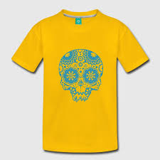 skull with different ornaments in the style of the mexican sugar