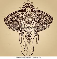 Indian Style - vector abstract elephant indian style mehndivector stock vector