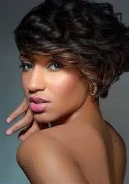 pic of black women side swept bangs and bun hairstyle short curly hairstyles with side swept bangs for black women