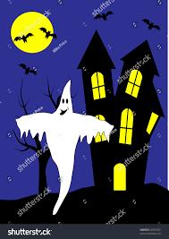 halloween vector illustration happy ghost front stock vector