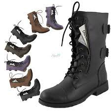 womens boots burning s combat lace up ankle high boots credit card knife