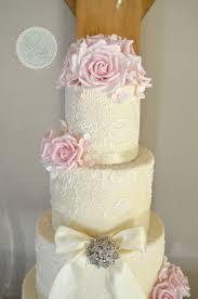 pink u0026 ivory lace wedding cake