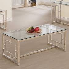 coaster company satin nickel coffee table coffee table glass top satin nickel finish modern living room