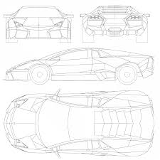 lamborghini aventador drawing outline 2008 lamborghini reventon coupe blueprints free outlines