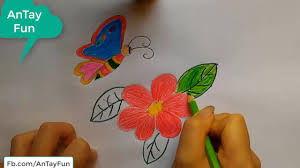 how to draw a butterfly u0026 flower for kids easy antay fun youtube