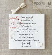 Card For Bride From Groom Bride Thank You Mother Of The Groom Plaque Personalised Wooden