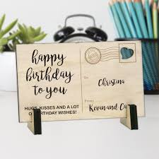 personalized postcards custom gifts happy birthday personalized wood postcard buy now