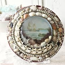 sailors valentine victorian sea shell art bubble glass ship frame