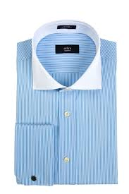 slim fit blue stripe white collar with french cuffs in egyptian