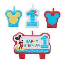 Cake Decorations For 1st Birthday Disney Baby Mickey 1st Mini Candle Set 4pcs Birthday Party