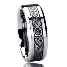 8mm titanium comfort fit wedding band ring celtic dragon inlayed
