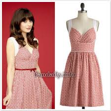 zooey deschanel new girl fashion wwzdw what would zooey deschanel style dress modcloth paradise tile dress with red