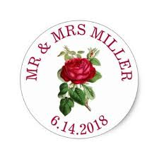 style flower personalized wedding stickers red rose stickers unique et roses