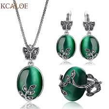 opal earrings necklace images Big natural stone green opal jewelry sets antique crystal jpg