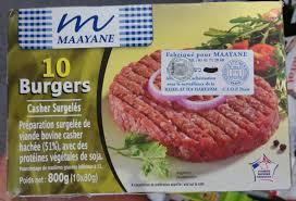 cuisine casher 10 burgers casher surgelés maayane 800 g