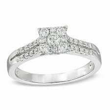 2ct engagement rings 1 2 ct t w diamond square cluster engagement ring in 14k white