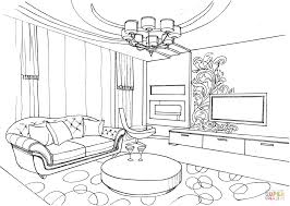 living room with ornament coloring page free printable coloring