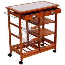 Tile Top Dining Tables Homcom 26 Portable Rolling Trolley Kitchen Cart With Tile Top
