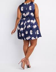 plus size floral pleated skater dress charlotte russe