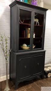 Vintage China Cabinets Vintage China Cabinet Painted Custom Charcoal With Original Interior