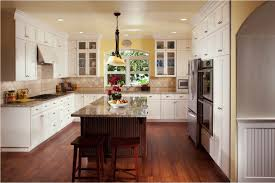 awesome u shape kitchen interior design with white wood kitchen