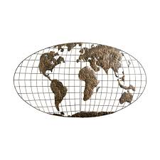 World Map Wall Decor Southern Enterprises 46 In X 25 5 In Metal Iron World Map Wall
