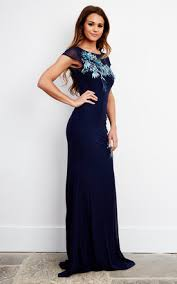blue sequin embroidered maxi dress silkfred
