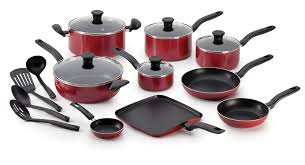 home pans t fal initiatives 18 piece nonstick inside and out cookware set red