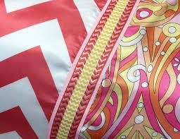 coral chevron satin pillowcase with mod print border pink yellow