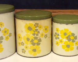 green canister sets kitchen retro canisters etsy