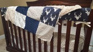 baby boy crib bedding navy buck ecru chevron white tan arrows
