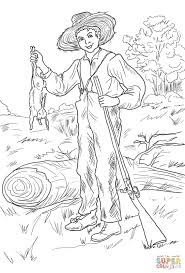 huckleberry finn with rabbit coloring page free printable