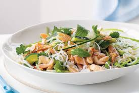 rice noodle salad with smoked trout recipes delicious com au