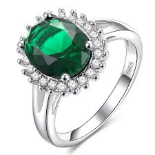 green gemstone rings images Top quality princess ellipse green gem created white crystal 925 jpg